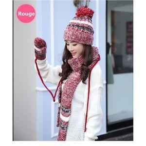ECHARPE - FOULARD Tricotés Ensemble d'hiver Bonnet écharpe gants 3 e