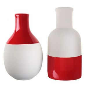 VASE - SOLIFLORE 2 Vases scandinaves rouge et blanc assortis
