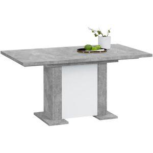 TABLE À MANGER SEULE Table à manger extensible Becca - béton/blanc