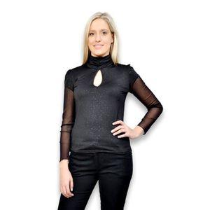 T-SHIRT Tee shirt femme habillé manches en résille - Top f