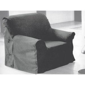 HOUSSE DE FAUTEUIL Housse de fauteuil en coton PANAMA gris clair.