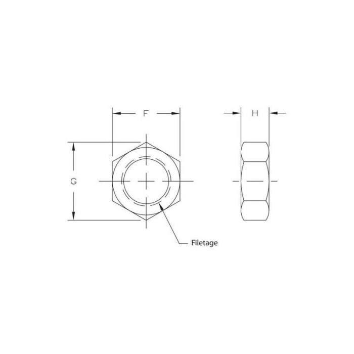 Contre écrou Métrique 8x125 Pas Gauche