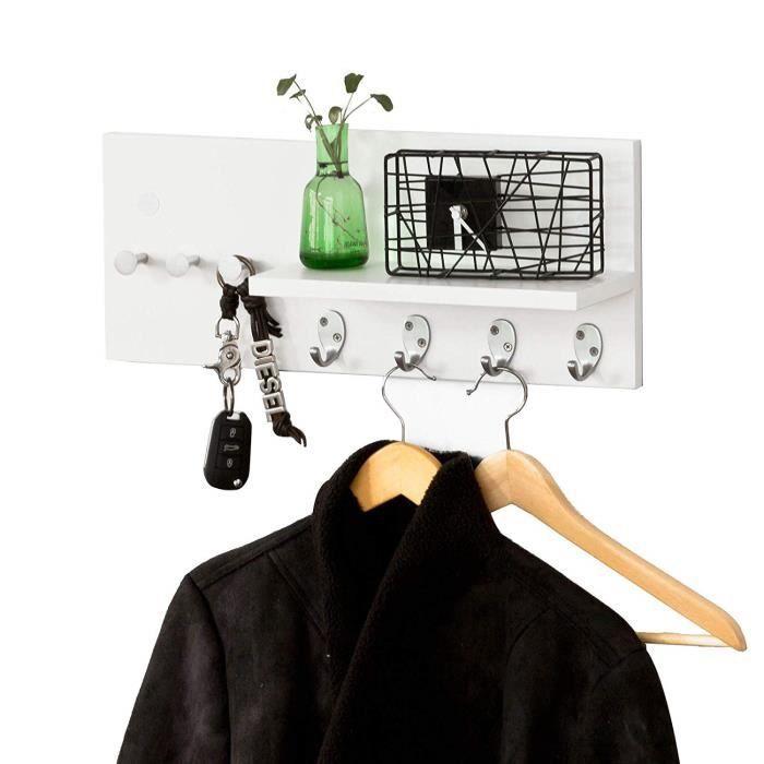 Porte-Manteaux Mural, étagère avec 1 Tablette et 7 Crochets en INOX Acier, Porte-Serviettes, Blanc, L50cmxP12,5cmxH21cm