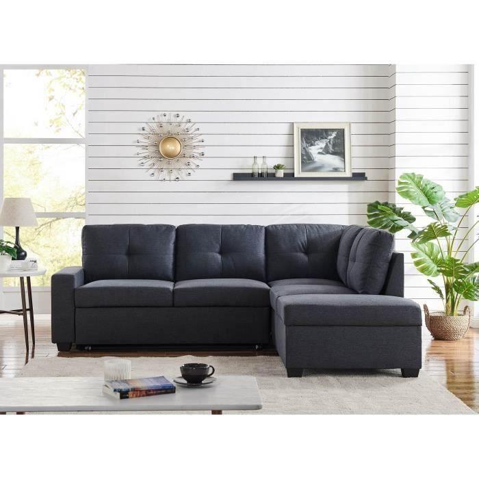 Canapé d'angle avec coffre de rangement convertible en tissu gris anthracite - Angle Droit