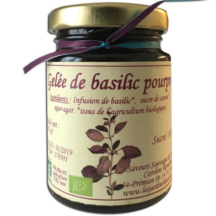Gelée de basilic pourpre Bio 120 g Les Jardins du Salvet