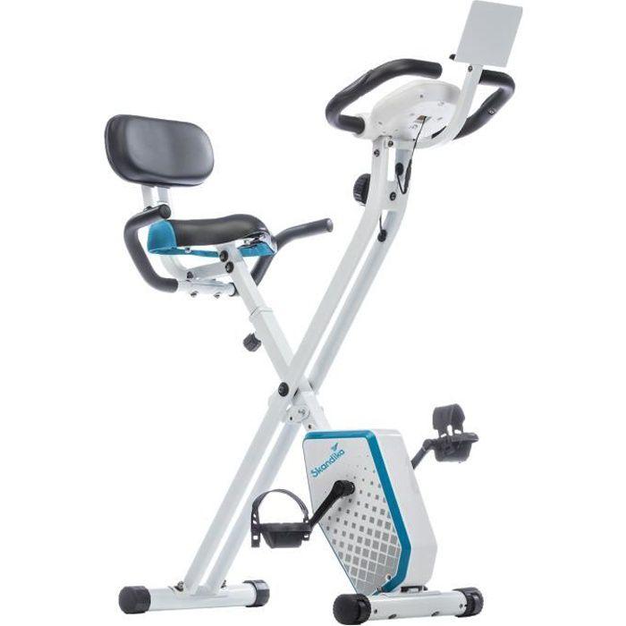 SKANDIKA FOLDAWAY X-1000 PLUS - Vélo d'appartement Forme X pliable - 8 niveaux de résistance - Poids jusqu'à 110kg - Bluetooth