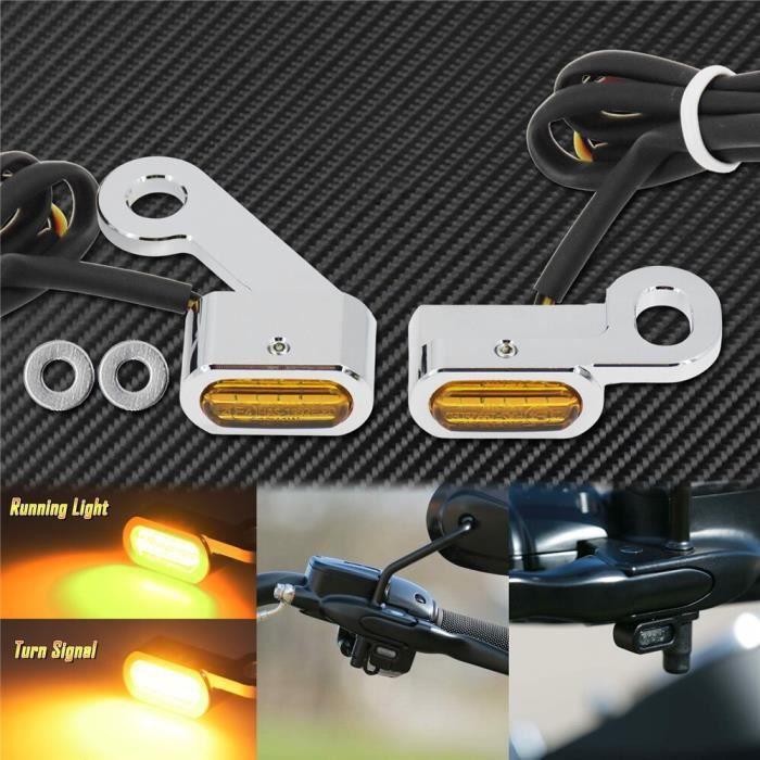 Moto 2 pièces LED clignotants ambre feux Mini lampe E Mark pour Harley Sportster XL883 1200 72 48 20 Turn Signal Light B -WM2323