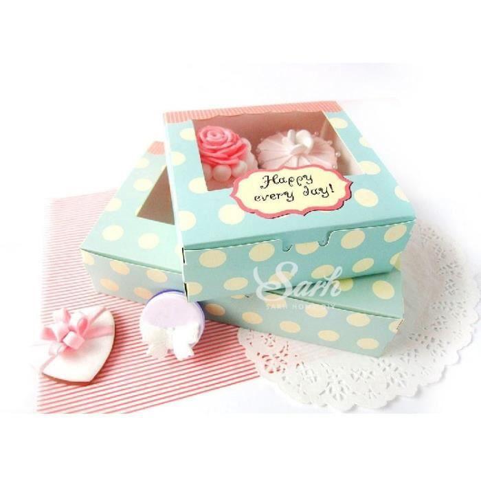 13.5x13.5x5cm -Boîte à Macarons et muffins au chocolat, jolie boîte à Biscuits, paquet de Biscuits, 10 pièces