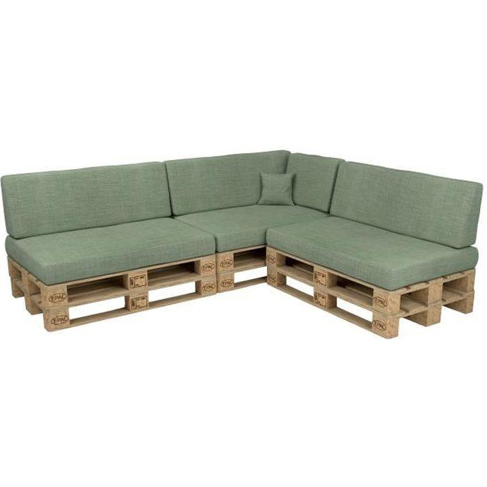 POKAR Coussins pour Palettes Euro, Canapé de Jardin [Vert, Set de 8 pièces]