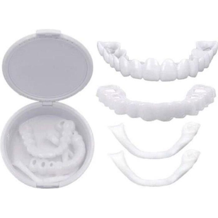 2 Pièces Prothèses Instantanées de Facettes Fausses Dents Sourire Dentier Dentaire Top Fausses Dents avec Mini