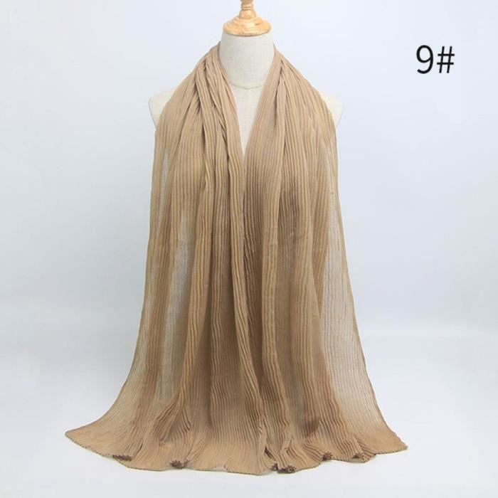 Foulard hijab en coton froissé, écharpe douce, écharpe chaude, écharpe chaude, châle, 25 couleurs, Design hiver, tendanc DY5184