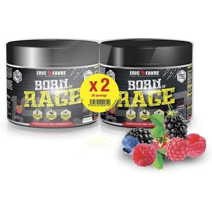 pre workout born of rage - booster musculation explosif vegan en poudre - energie et endurance - anti fatigue pour entraineme