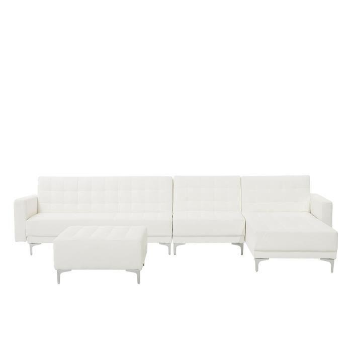 Beliani - Grand canapé d'angle à gauche en simili-cuir blanc avec pouf ottoman ABERDEEN