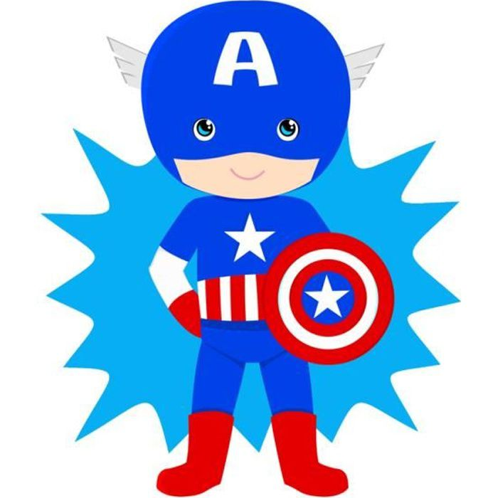 Poster Affiche Little Captain America Garcon Enfant Dessin Mignon Super Hero 31cm x 40cm