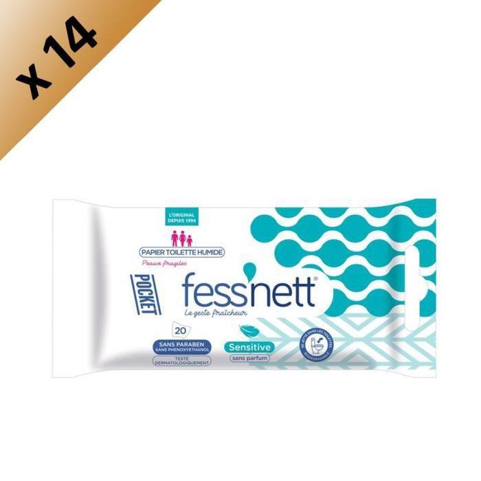 FESS'NETT Carton de 14 x50 Papiers Toilette Humide Kids