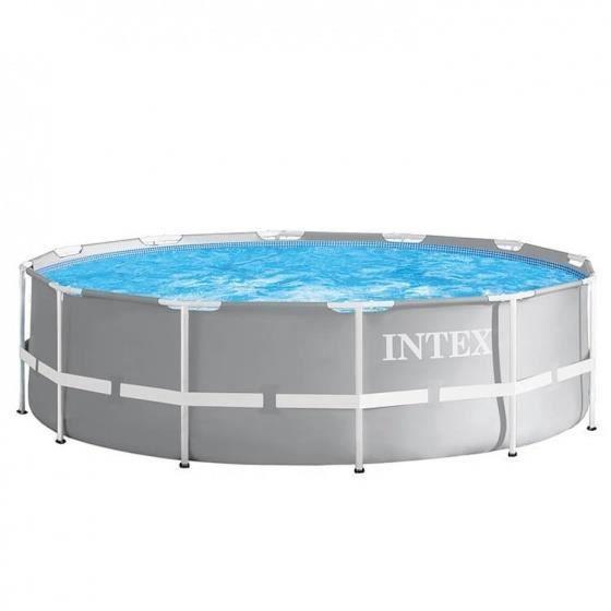 Intex piscine avec pompe de filtration et échelle Prism Frame Ø366 x 99 cm gris