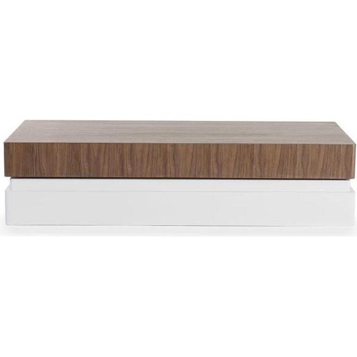 Table basse bois/laqué SIDONY - Noyer/Blanc - Bois foncé 30 Bois Foncé