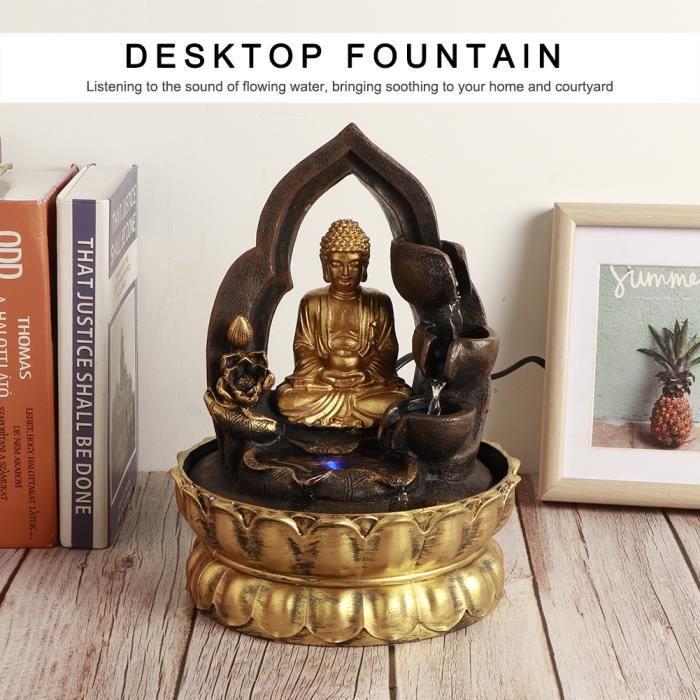 DECO-Lv.life☀Fontaine de table éclairée par LED ornements fontaine d'eau en résine méditant statue Bouddha décoration (EU)☀GOL
