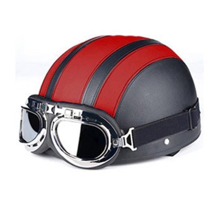 Casque Moto de Marque luxe unisexe Casque Harley vintage casque en pu cuir de Lunettes rétro personnality casque