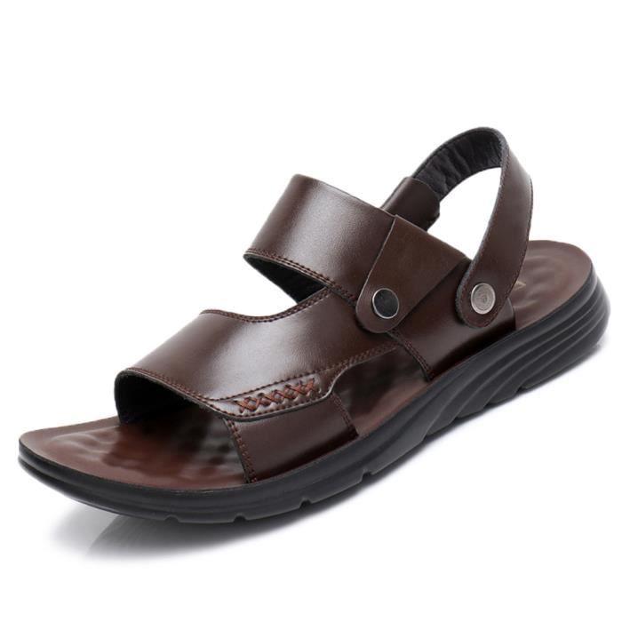 Sandale Homme Cuir Plage-été Randonnée Bout Sport Marche Extérieurs Chaussures Lacet Réglable Marron 1 38 EU