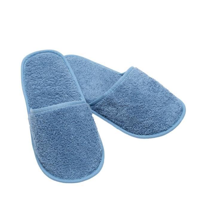 LINANDELLE - Chausson de bain en coton éponge imperméable mixte SPA - Bleu ciel - Adulte Homme