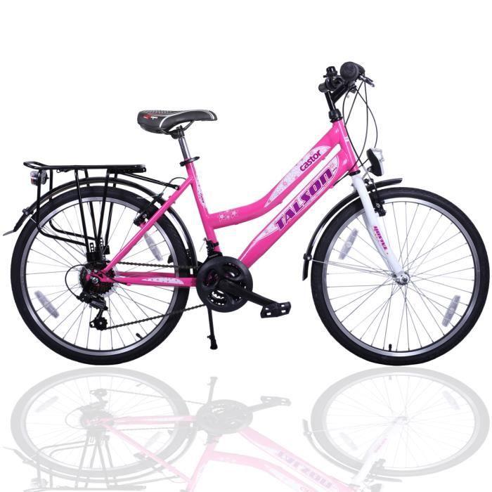 TALSON Vélo pour enfant 24 pouces Shimano 249522 21-vitesses 24'' vélo de fille avec éclairage ROSE
