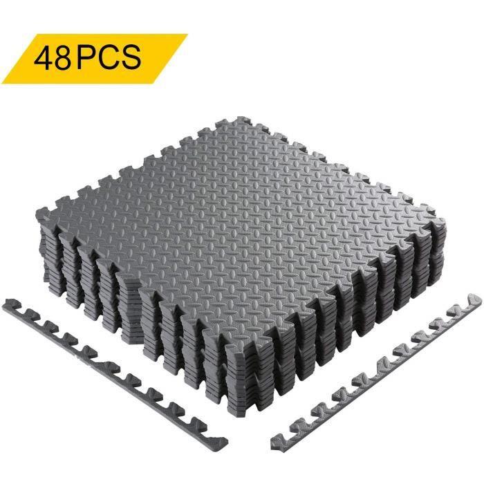 48 PCS Tapis en Mousse Souple Tapis de Sol emboîtables en Mousse EVA Fitness Gymnastique 60cm x 60cm