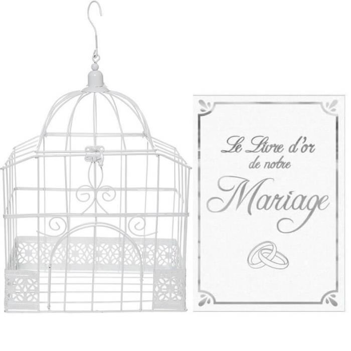 1 Pack urne cage et livre d'or mariage blanc et argent R/5314-LDORM