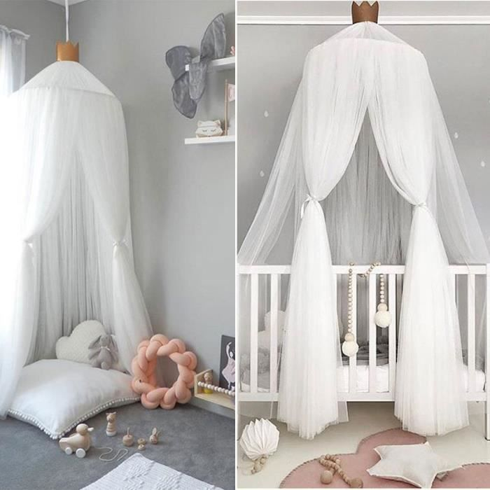 240cm moustique ciel de lit pour enfants bébé avec 8m 80 LED LED Guirlandes étoilées