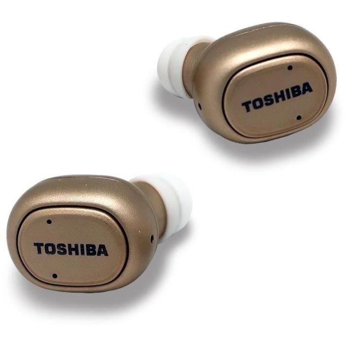 TOSHIBA RZE-BT800E Casque intra auriculaire sans fil Bluetooth - Batterie rechargeable 450 Mah - Or