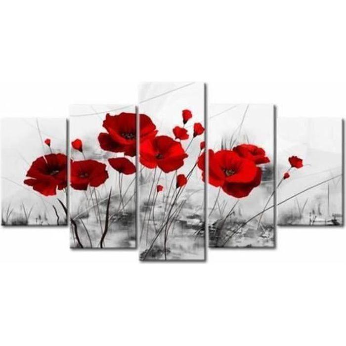 ROUGE Coquelicots Fleurs Imprimé Floral Toile Wall Art Triple Photo Gris