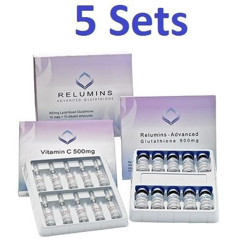 BEAUTÉ DE LA PEAU 5 ensembles de Relumins authentique Advanced gluta