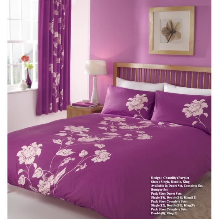 parure de lit chantilly violet 160cm achat vente parure de couette cdiscount. Black Bedroom Furniture Sets. Home Design Ideas
