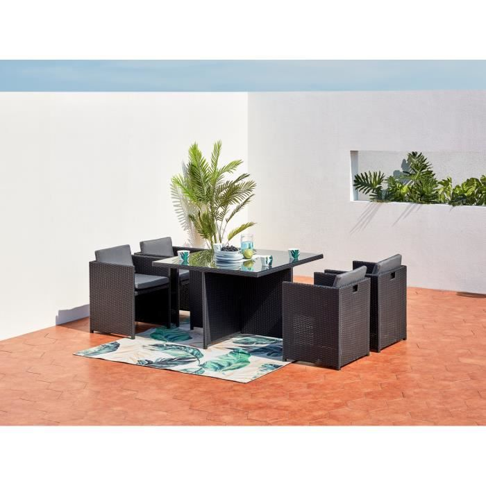 miami 4 salon de jardin encastrable 4 places en r sine. Black Bedroom Furniture Sets. Home Design Ideas