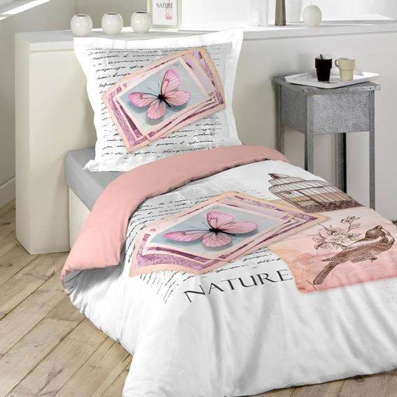 housse de couette et une taie 140 cm nature pastel. Black Bedroom Furniture Sets. Home Design Ideas