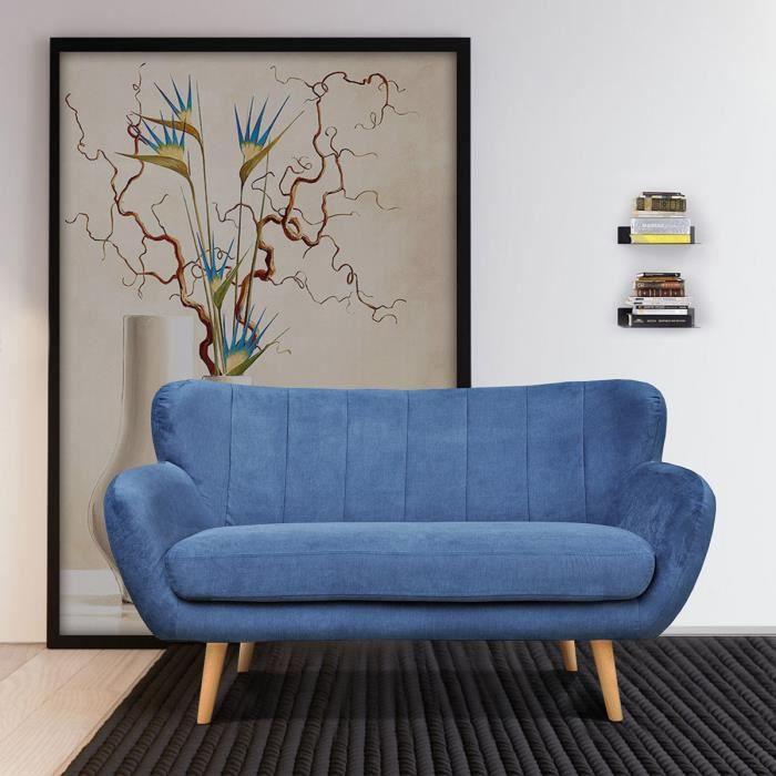 CANAPÉ - SOFA - DIVAN FurnitureR Canapé Droit Fixe 2 Places - Tissu Bleu