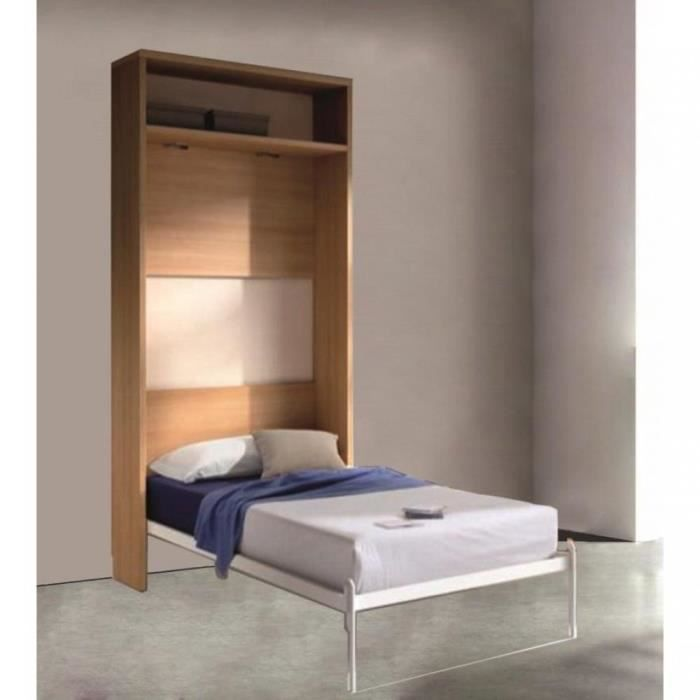 armoire lit escamotable atlas ch ne clair et b achat vente lit escamotable armoire lit. Black Bedroom Furniture Sets. Home Design Ideas