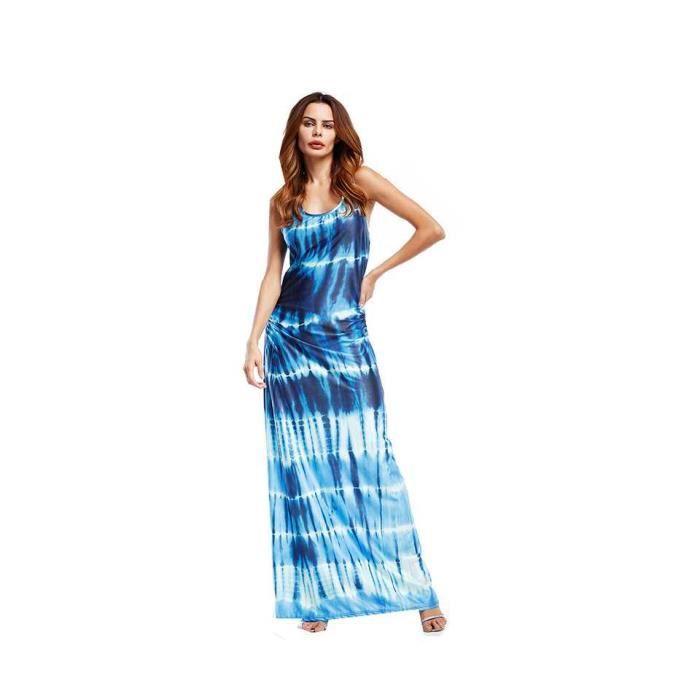 Robe Longue Robe De Plage Grande Taille Femme Chic 2018 Printemps Ete Couleur De Degrade 163 Bleu Fonce Achat Vente Robe Cdiscount