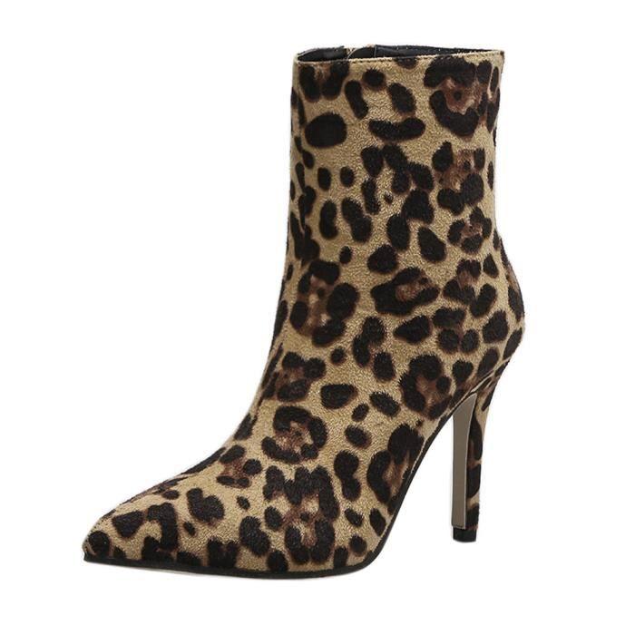 épais mince Toe marron Zip motif talon Chaussures Bottes serpent Bottines Femmes Pointu de peau CWrxedoB