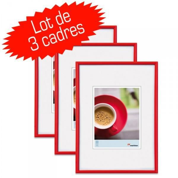 lot de 3 cadres photo galeria 20x30 cm rouge achat vente cadre photo cdiscount. Black Bedroom Furniture Sets. Home Design Ideas
