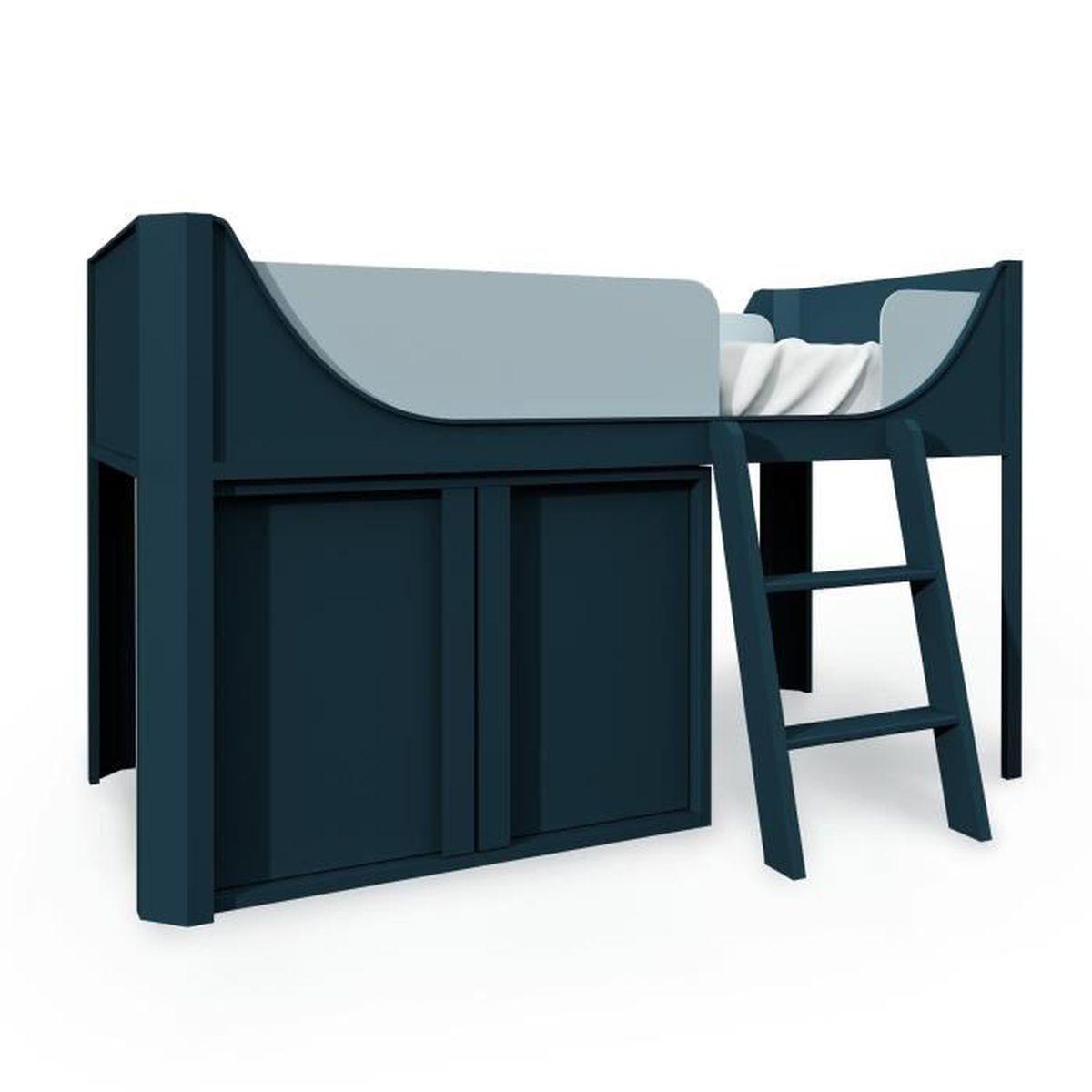 Lit Mezzanine Avec Rangement Pas Cher lit mezzanine mi-haut avec rangement en bois bleu thimeo 90 x 190 cm