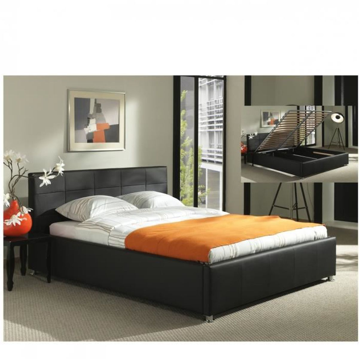 lit coffre noir sommier relevable 160x200 cm camilia achat vente lit evolutif lit coffre. Black Bedroom Furniture Sets. Home Design Ideas