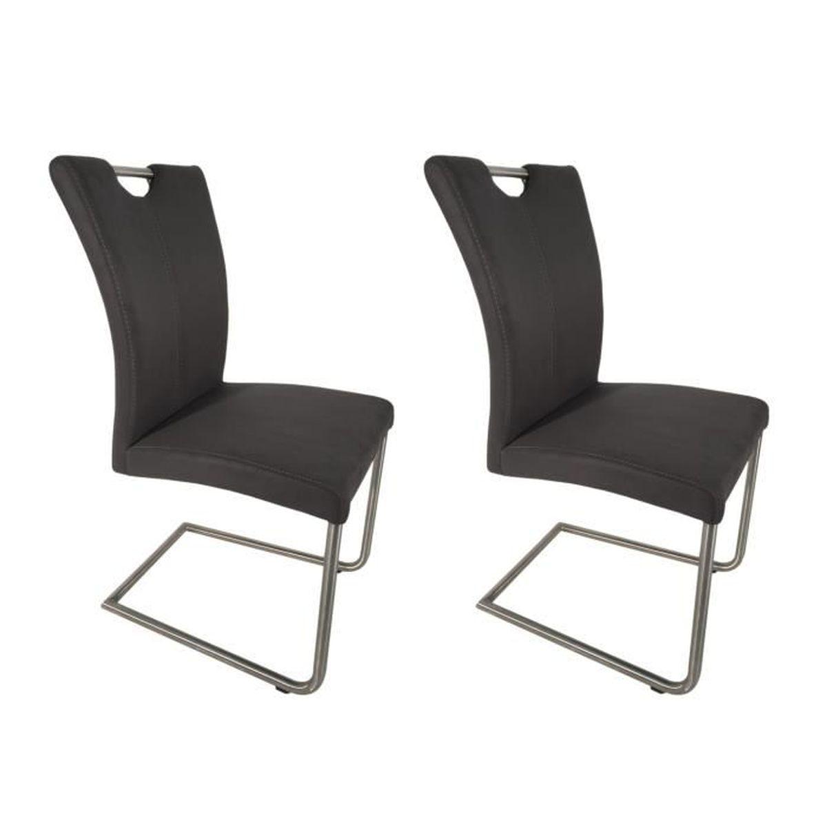 2 chaises Salle à manger - gris anthracite aspect daim