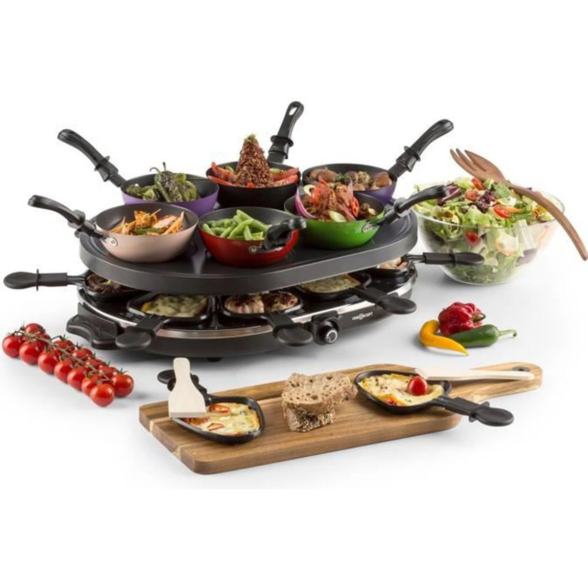 oneconcept woklette appareil raclette lectrique avec set wok party plaque de grill. Black Bedroom Furniture Sets. Home Design Ideas