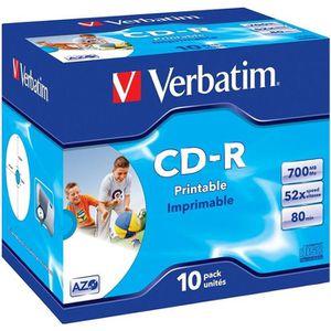 CD - DVD VIERGE Verbatim CD-R 80 min 52x (10) Imprimable