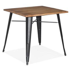 TABLE BASSE Table carrée style industriel 'MARCUS' en bois fon