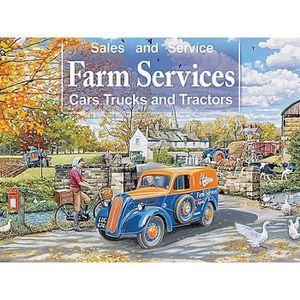 AFFICHE - POSTER Services agricoles Voitures, camions et signe méta