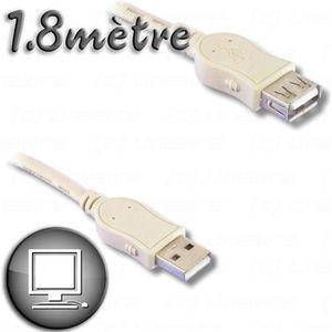 CÂBLE INFORMATIQUE Câble Rallonge USB 2.0 A mâle / A femelle 1m80