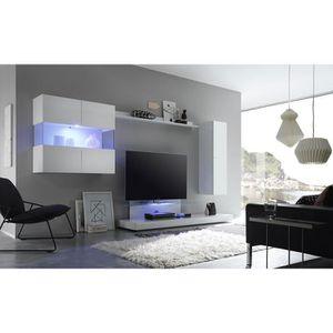 MEUBLE TV Ensemble meuble TV laqué blanc avec éclairage LED