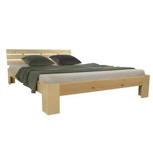 STRUCTURE DE LIT Lit double lit en bois futon lit naturel - Dim : 1